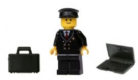 LEGO® Airline Pilot Minifig with Briefcase and Laptop Computer from Town & City